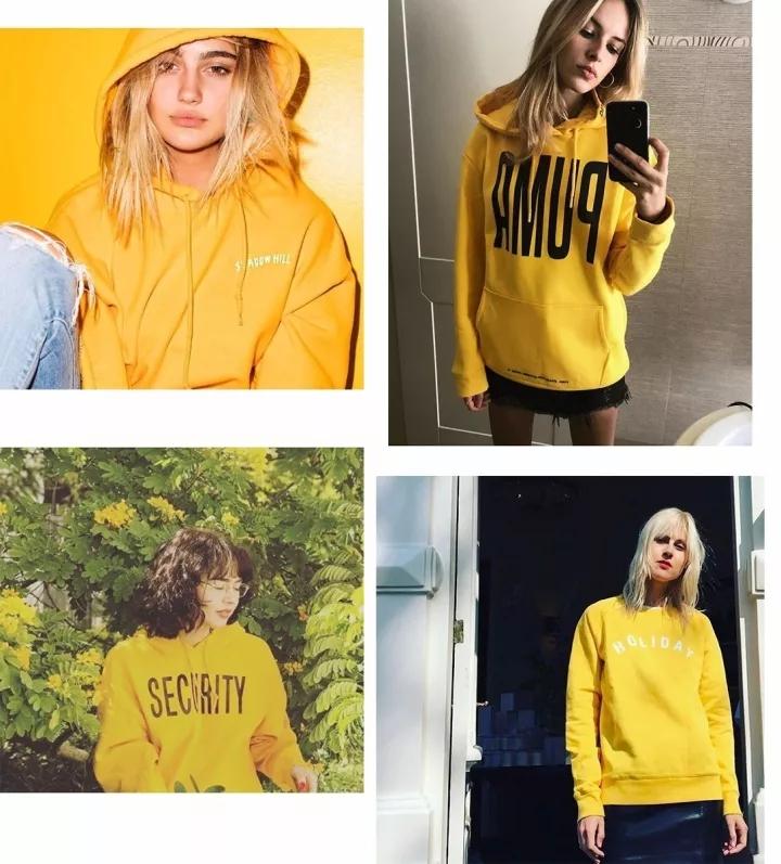 黄色卫衣搭配图案与小技巧